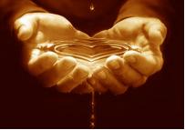 hart en water in handen