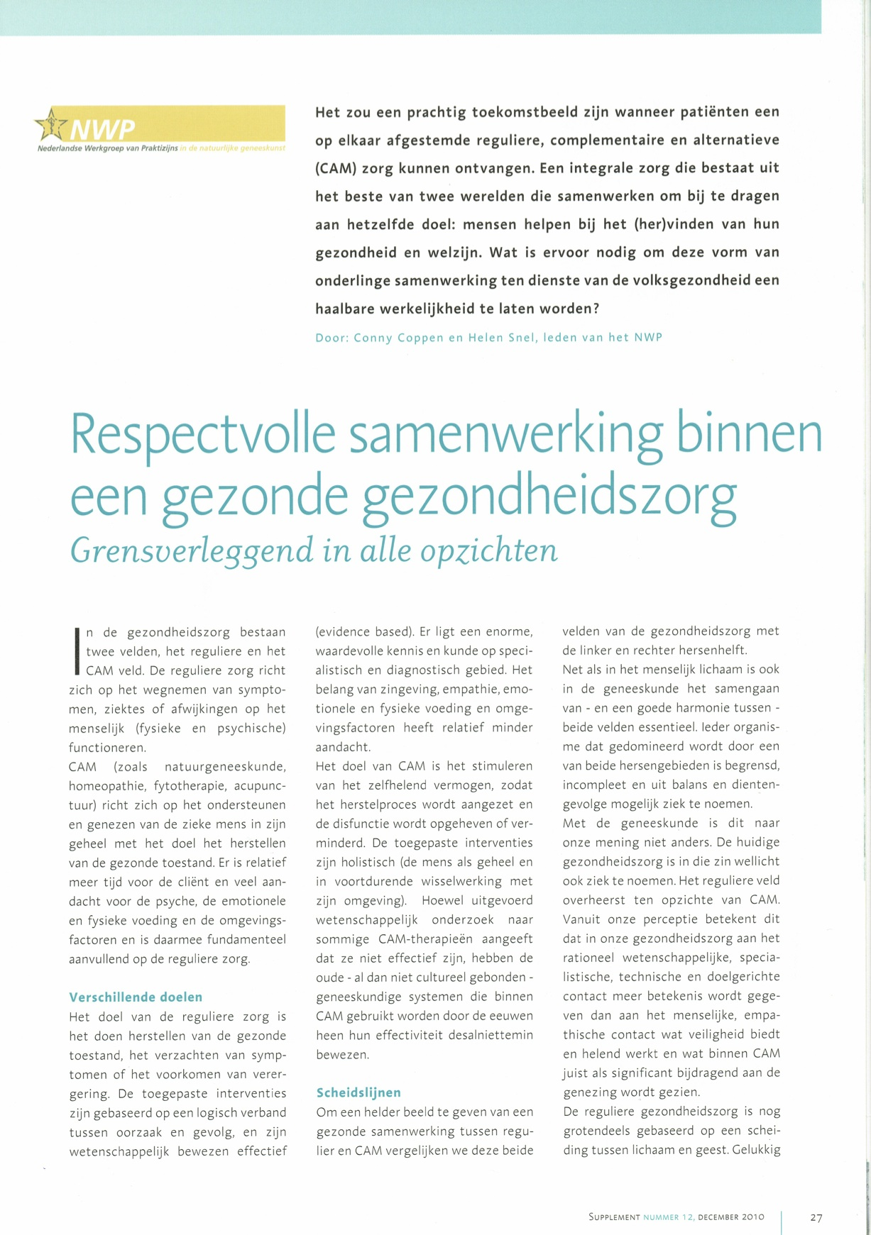 Pagina 1 Artikel  Respectvolle samenwerking