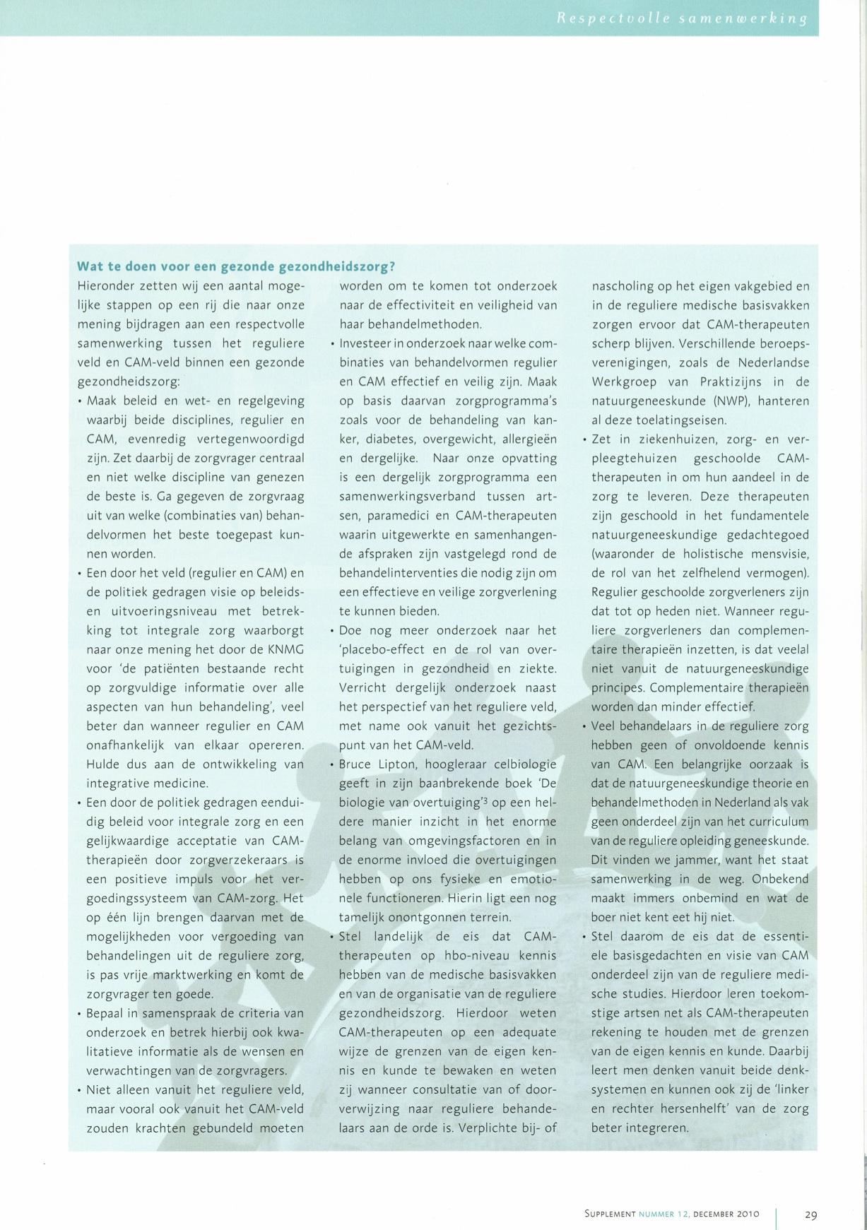 Pagina 3 Artikel  Respectvolle samenwerking in een gezonde gezondheidszorg